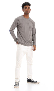 41920 Elbow Patch Basic Long Sleeves T-Shirt - Taupe