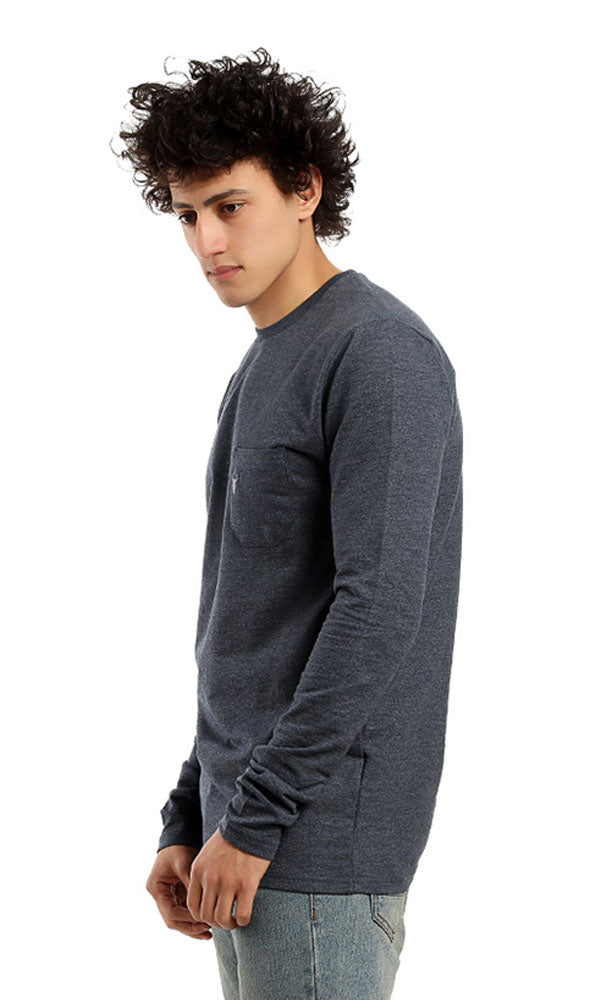 Plain Long Sleeves Casual Hoodie - Heather Navy Blue