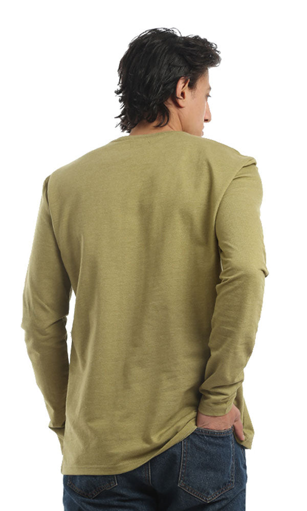 Rounded Long Sleeves Solid T-shirt - Heather Olive