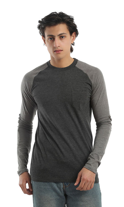 41934 Long Sleeves Casual T-shirt - Dark Grey