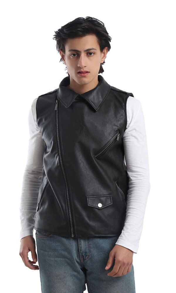 Leather Zipped Vest - Black