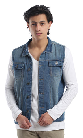 41937 Jeans Sleeveless Vest - Blue