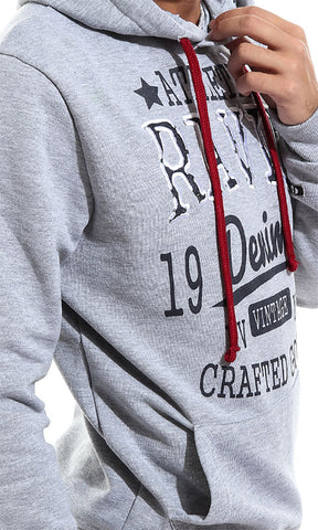 41955 Ravin Denim Unique Men Hoodie - Light Grey
