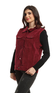 41958 Elegant Velvet Sleeveless Vest - Wine