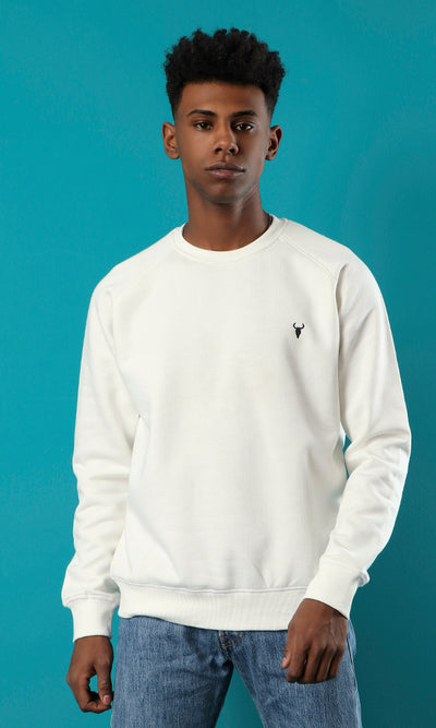 41976 Round Neck Basic Sweatshirt With Hem - Off-White