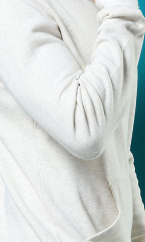 41983 Plain Full Sleeves Casual Hoodie - Off White