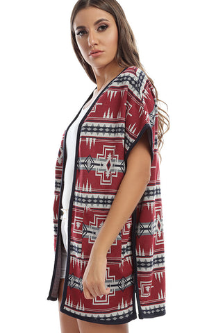 41993 Statement Patterned Sleevless Maroon & Navy Blue Cardigan