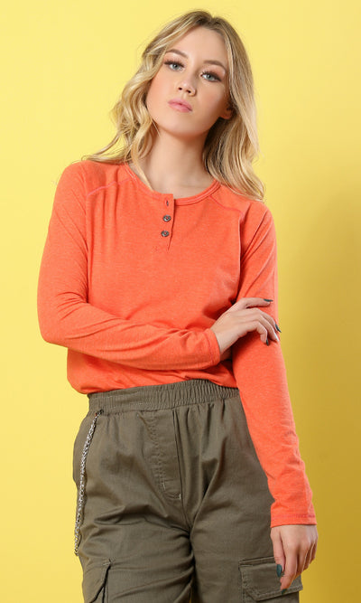 42006 Long Sleeves Solid Casual Top - Light Orange