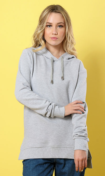 42007 Solid Hi-Low Basic Hoodie - Heather Light Grey