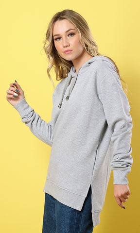 Solid Hi-Low Hoodie - Heather Light Grey - women hoddies & sweatshirts