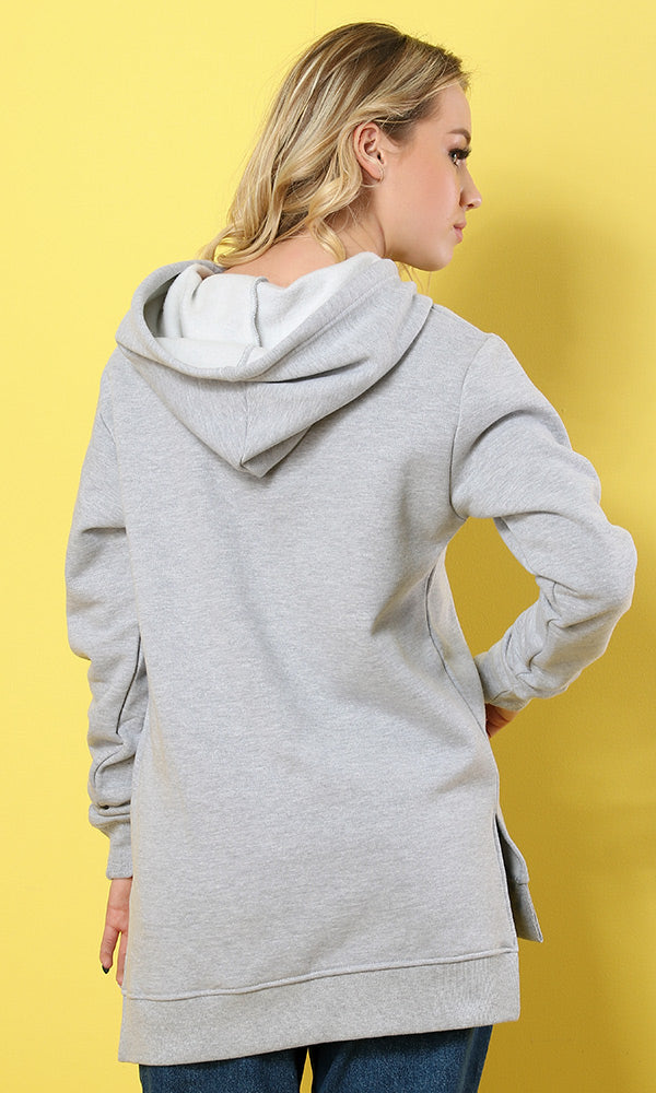Solid Hi-Low Hoodie - Heather Light Grey