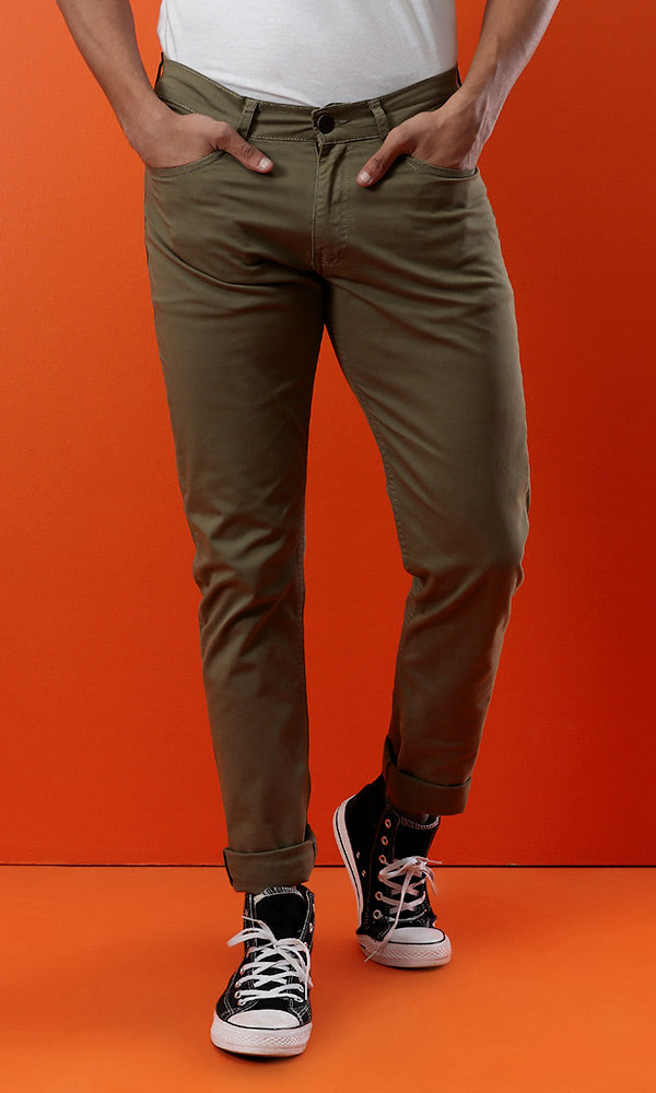 Slim Fit Pants - Olive