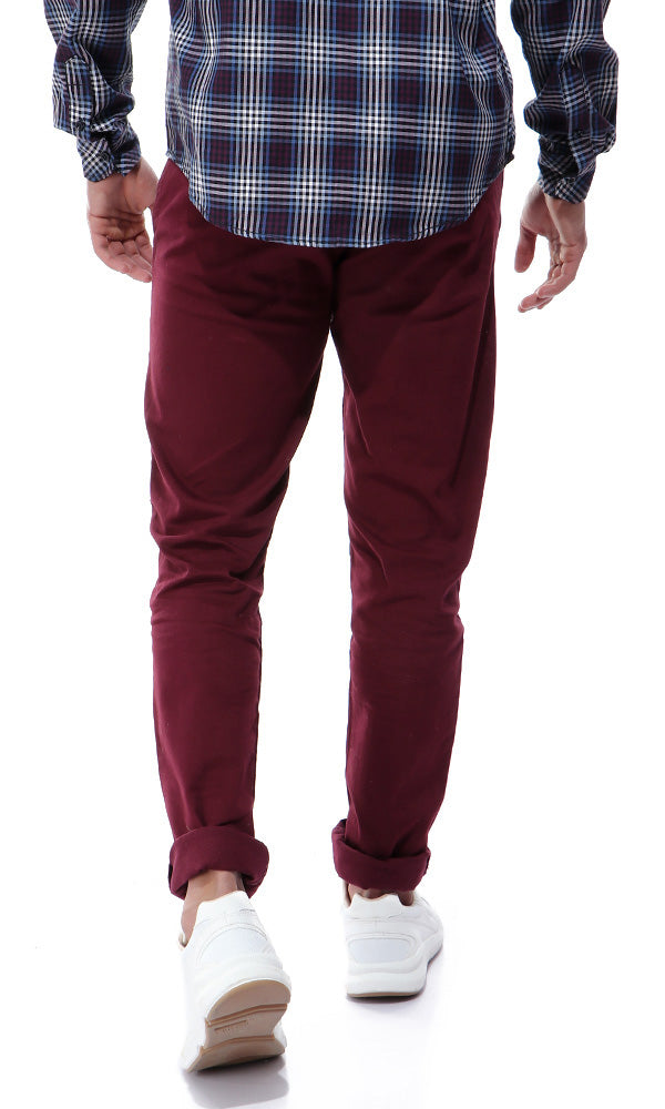 Fly Zip Casual Solid Burgundy Pants