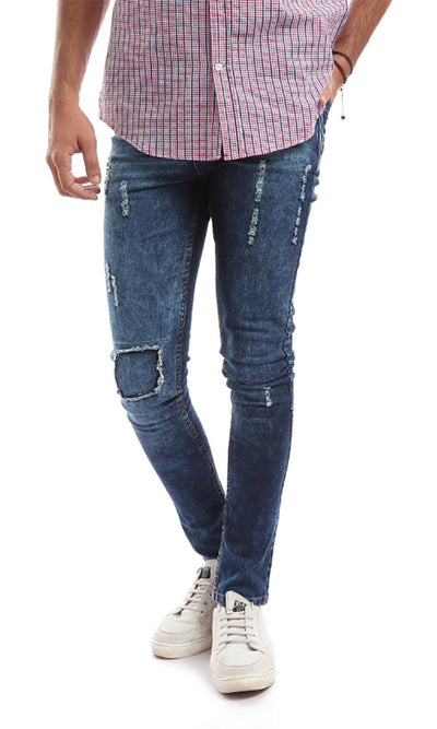 42040 Casual Distressed Men's Navy Blue Jeans