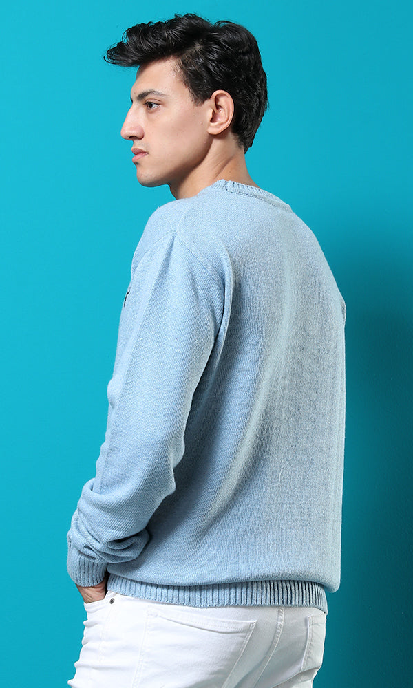 Rounded Casual Sweatshirt - Baby Blue