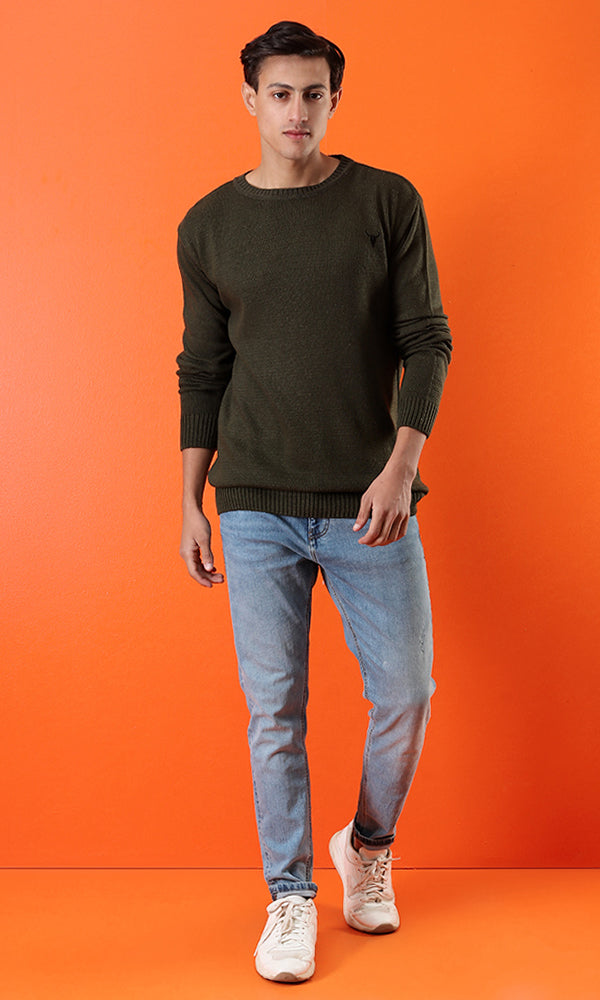 42054 Solid Rounded Neck Basic Pullover - Olive