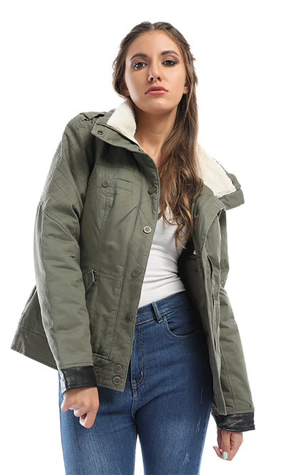 42081 She's The Bomb Olive Green Patterned Jacket