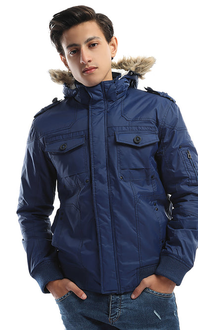 42084 Zip Pocket Fur Cap Padded Royal Blue Jacket
