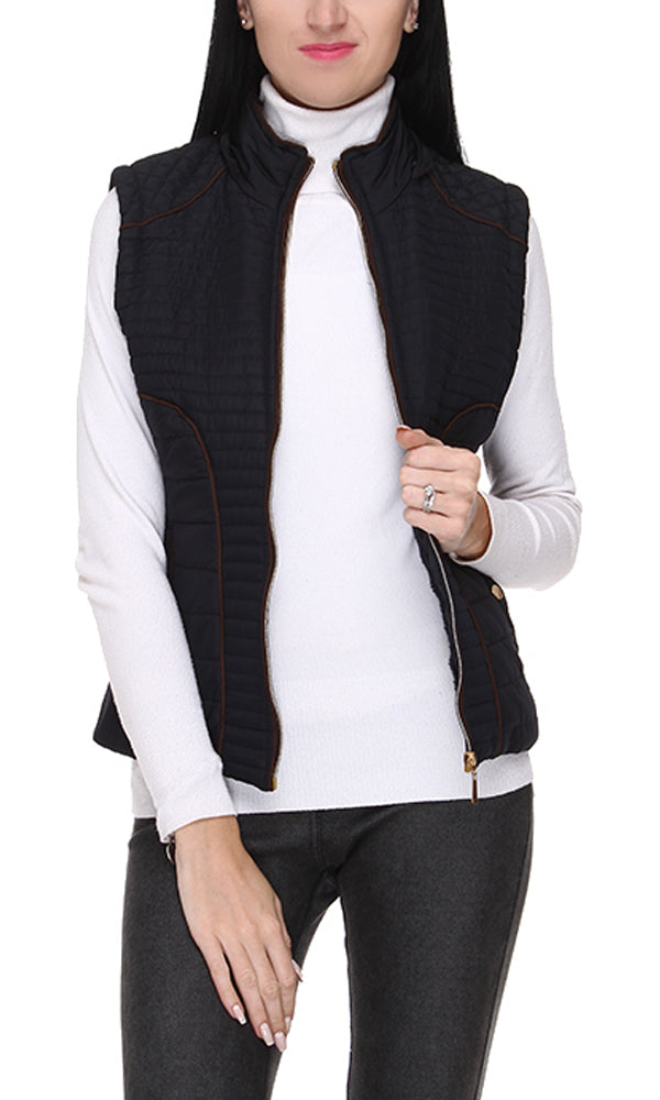 Stitched Zipper Vest - Black