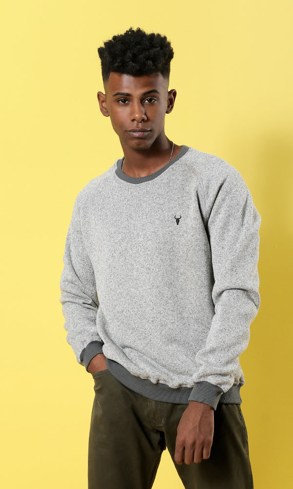Plain Long Sleeves Men Pullover - Grey