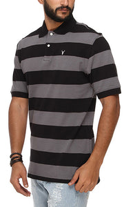 42187 مخطط Polo Shirt - Black & Grey