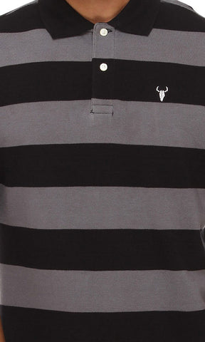 42187 Striped Polo Shirt-أسود & رمادي