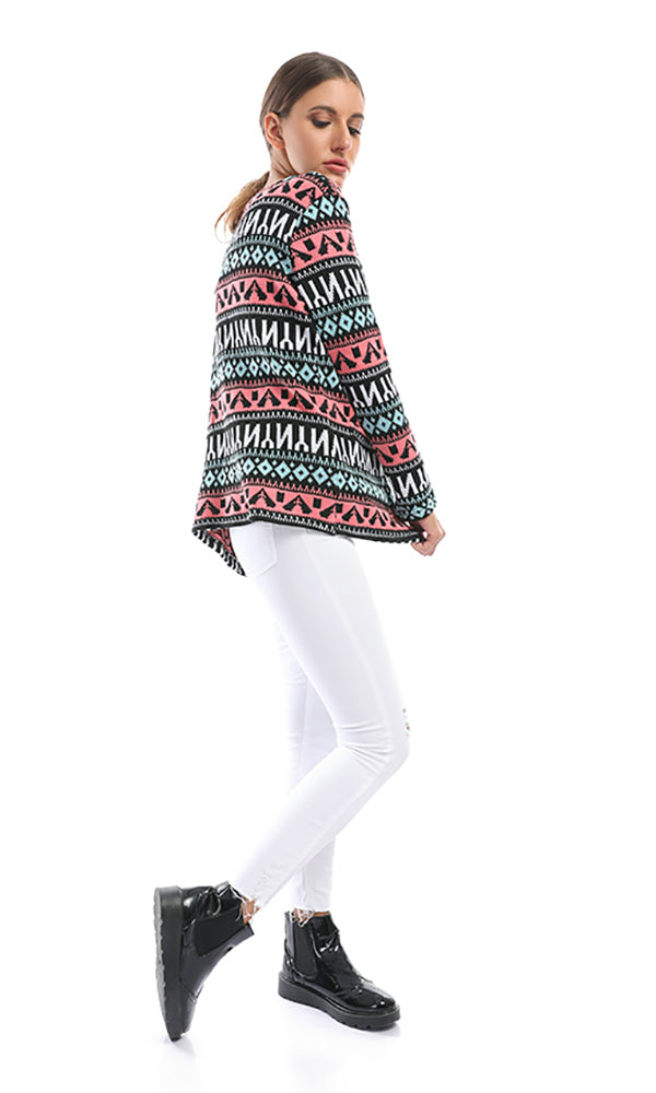 patterned short cardigan - multicolour