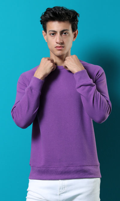 42207 Basic Rounded Comfortable Purple Casual Sweatshirt