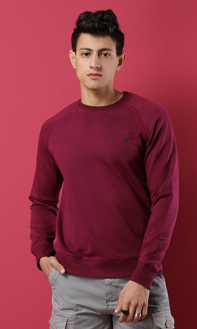 42208 Solid Round Raspberry Basic Slip On Sweatshirt