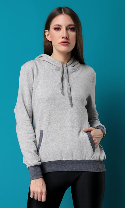 42219 Comfy Enough Light Grey Pocket Basic Hoodie
