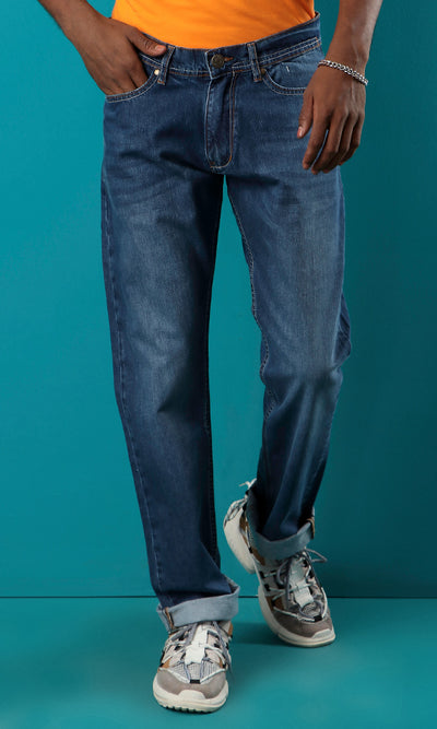 42229 Light Wash Straight Fit Basic Solid Jeans - Medium Blue Jeans