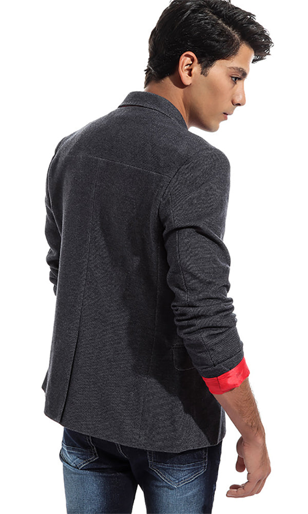 Elegant Solid Men Blazer - Grey