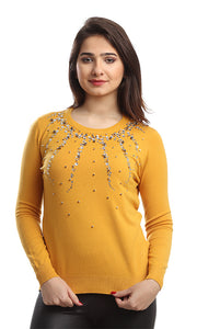 42296 Rounded Strassed Casual Pullover - Mustard