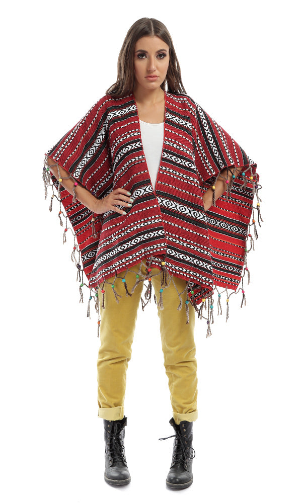43032 Fringes Beades Patterned Red Shawl