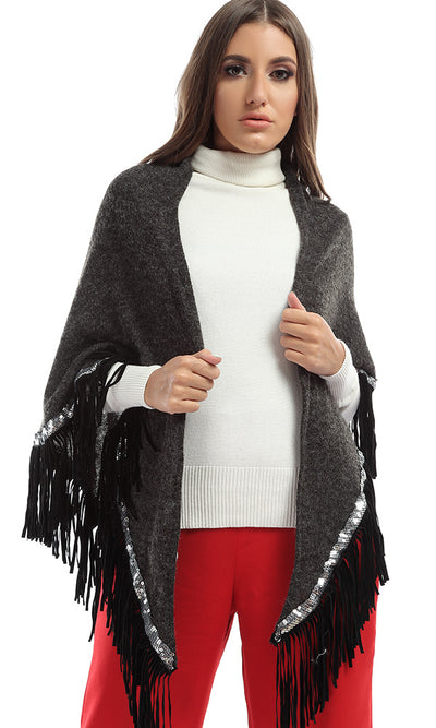 43034 Strassed Fringes Winter Uniqe Shawl - Dark Grey