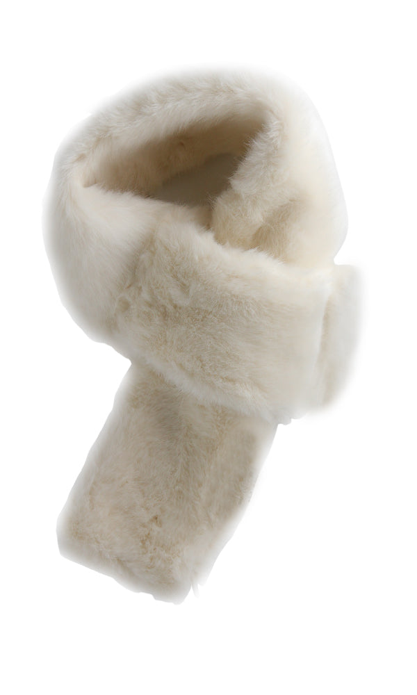 Fur Solid Scarf - Off White