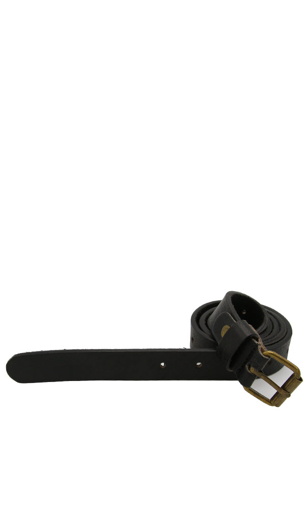 Leather Belt With Metal Stitched Buckle