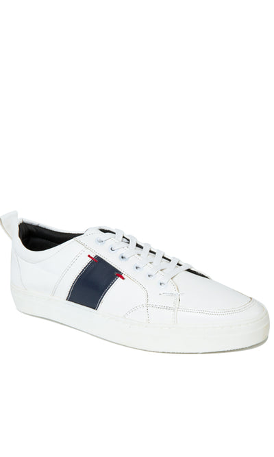 45029 Bi-Tone Leather Sneakers - White