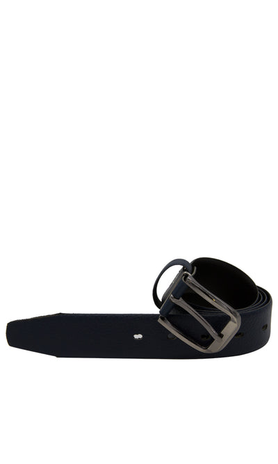 45040 Leather Men Casual Belt - Navy Blue