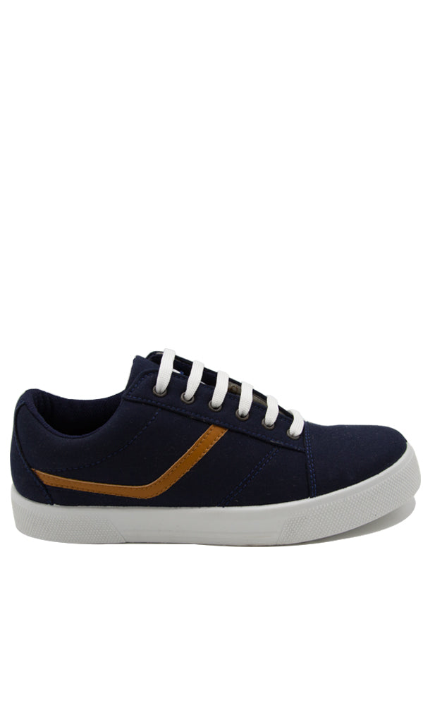 Canvas Lace Up Sneakers - Navy Blue