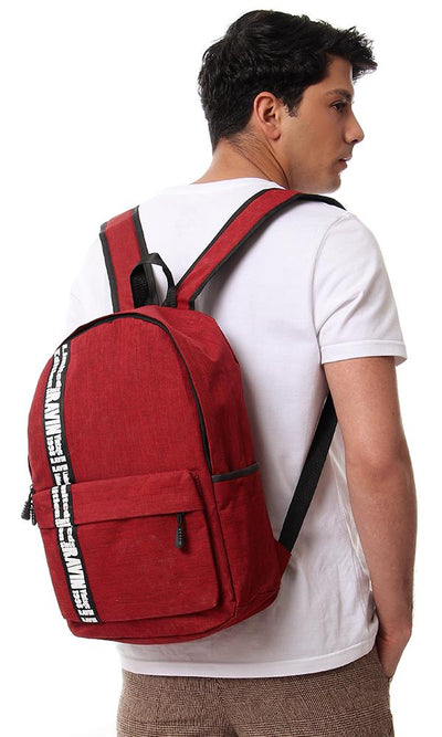 45134 Heather Red Backpack With Front Pocket