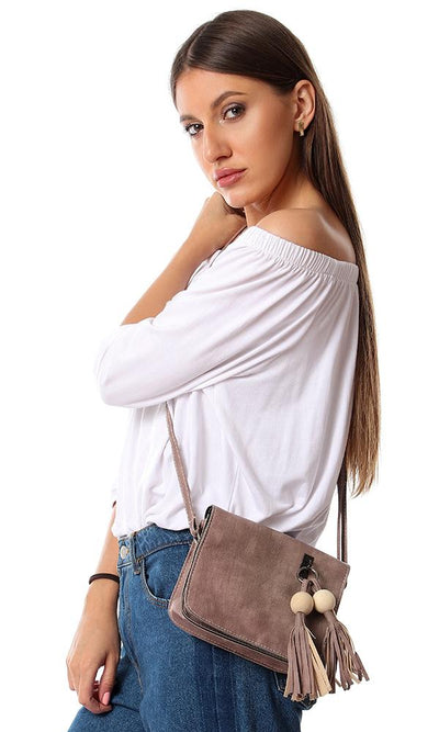 45138 Decorative Fringed Keychain Cross Body Bag - Nude Beige - Ravin