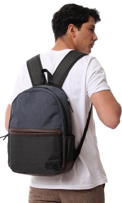 45143 Tri-Tone Two Compartment Backpack - Navy Blue, Dark Grey & Brown