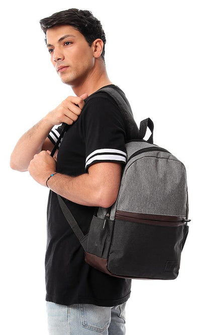 45144 Tri-Tone Two Compartment Backpack - Grey, Dark Grey & Brown