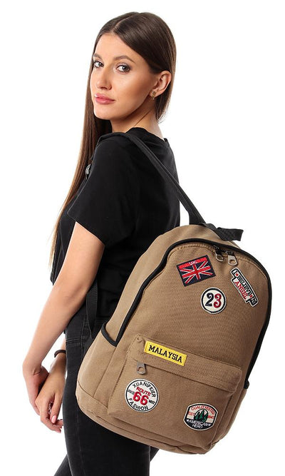 45158 Patches Zipped Backpack - Olive