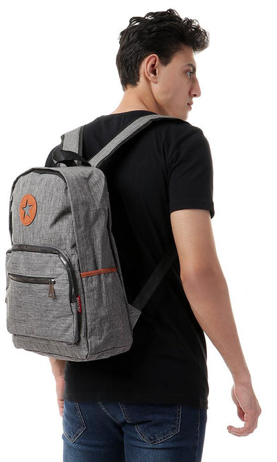 45159 Decorative Heather Grey Zipped Backpack