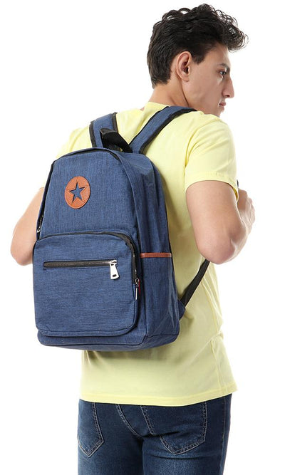 45160 Decorative Heather Navy Blue Zipped Backpack