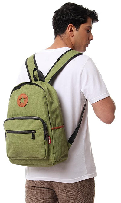 45161 Zipper Backpack With Front Pockets - Light Green