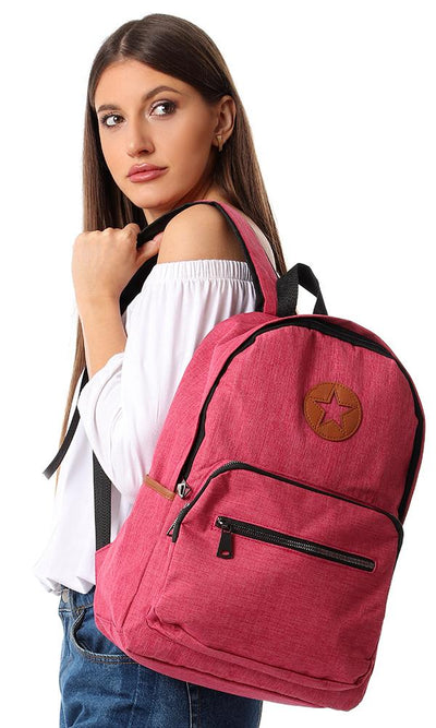 45162 Zipper Backpack With Front Pockets - Fuchsia - Ravin
