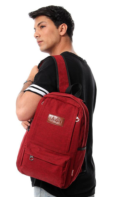 45163 Front Pockets Heather Backpack - Red